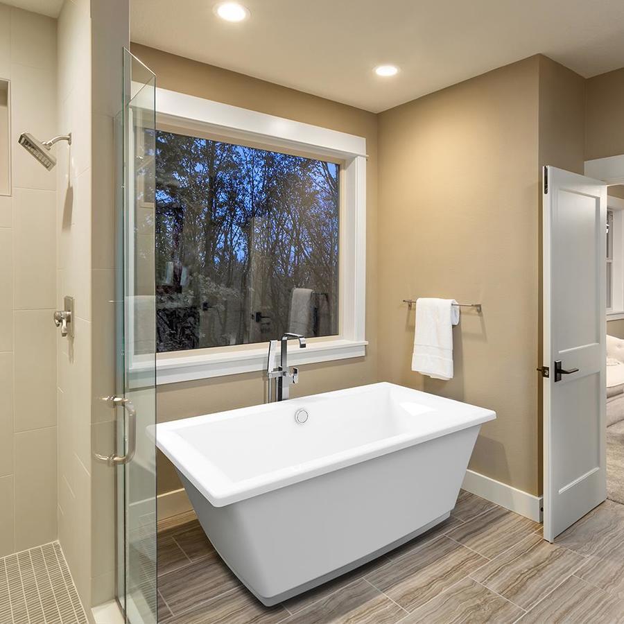 Jacuzzi Fia 66-in White Acrylic Freestanding Bathtub with Center Drain