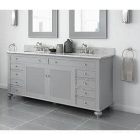 Jacuzzi Barrea 72-in Grey Double Sink Bathroom Vanity with White Cararra Marble Natural Marble Top