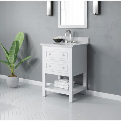 Mincio 24 In White Single Sink Bathroom Vanity With White Cararra Marble Natural Marble Top