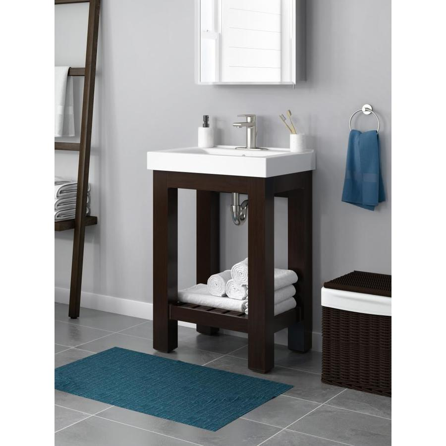 Jacuzzi Razzo 24-in Espresso Single Sink Bathroom Vanity With White Vitreous China Top At Lowes.com