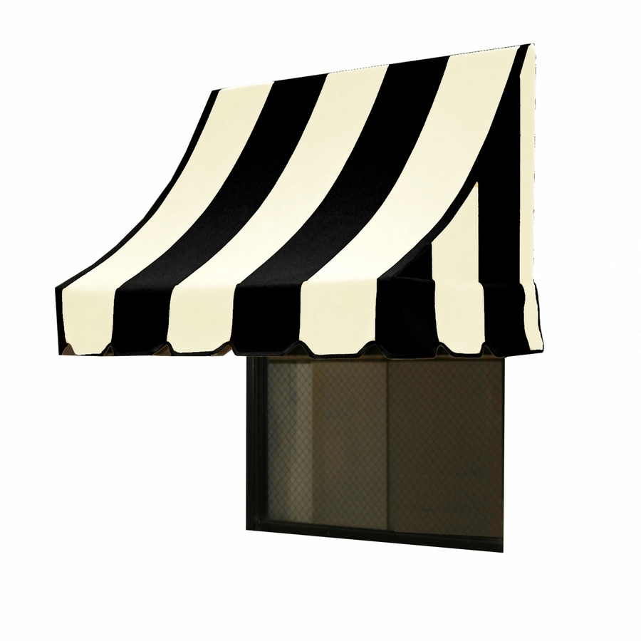 Awntech 76.5-in Wide x 24-in Projection Black/White Stripe Crescent Window/Door Awning