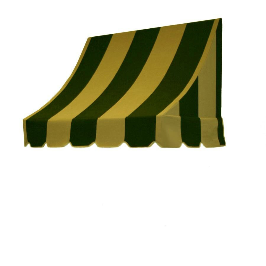 Awntech 76.5-in Wide x 24-in Projection Olive/Tan Stripe Crescent Window/Door Awning