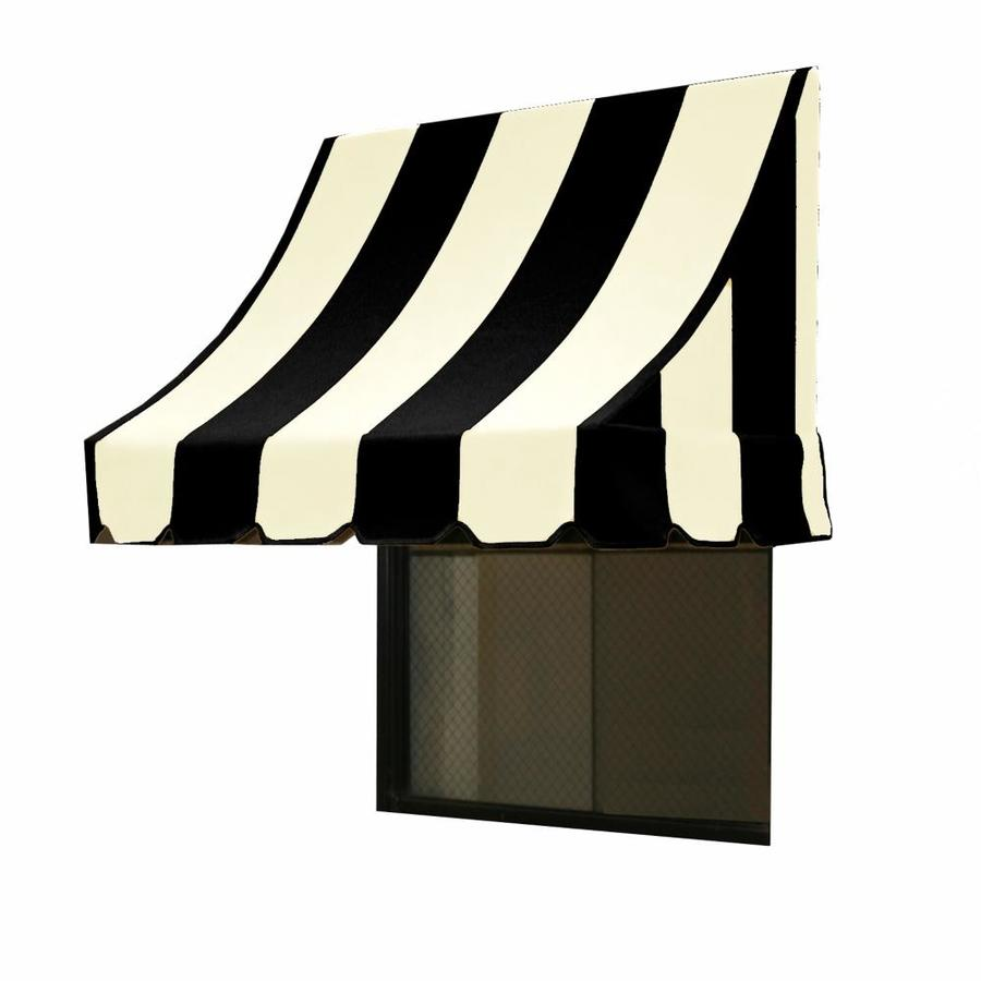 Awntech 88.5-in Wide x 24-in Projection Black/White Stripe Crescent Window/Door Awning