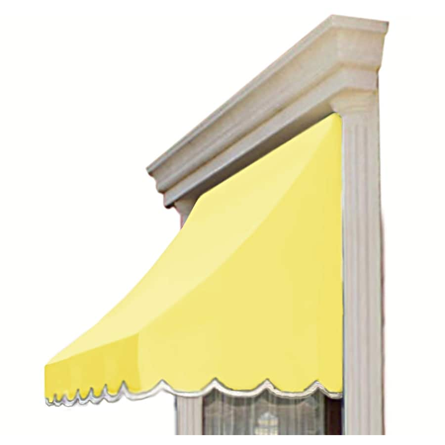 Awntech 124.5-in Wide x 24-in Projection Light Yellow Solid Crescent Window/Door Awning