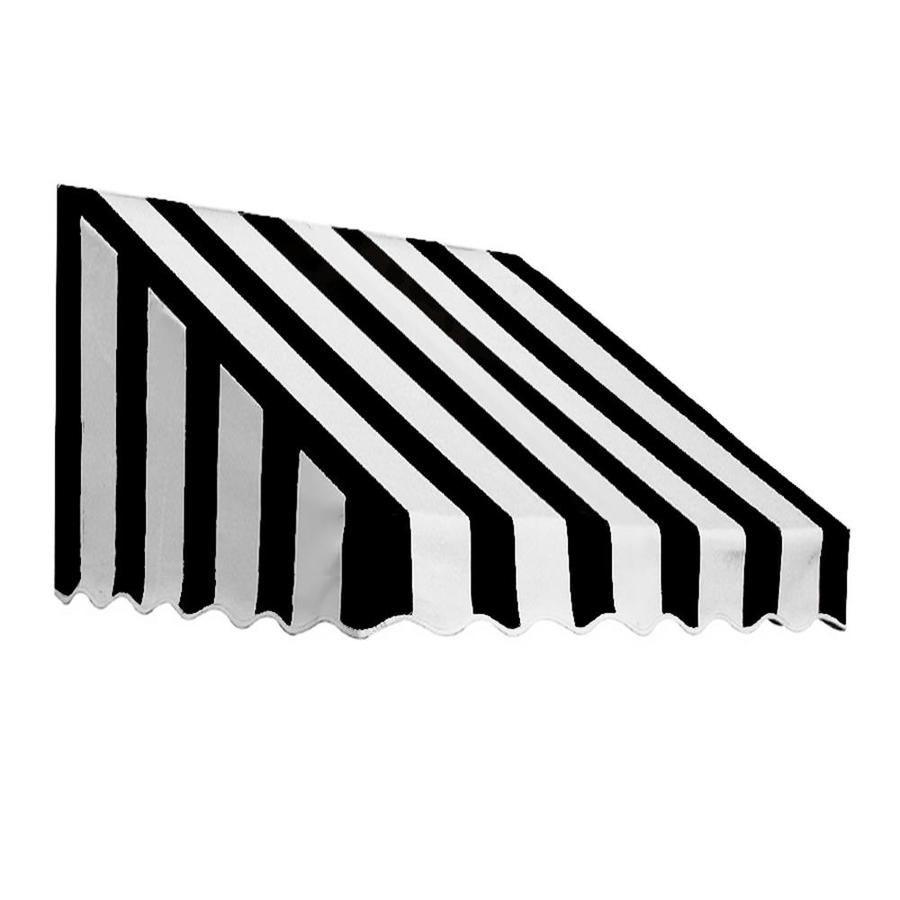 Awntech 40.5-in Wide x 30-in Projection Black/White Stripe Slope Low Eave Window/Door Awning
