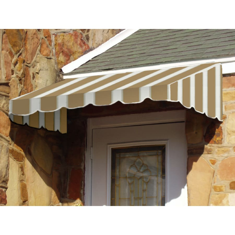 Awntech 52.5-in Wide x 30-in Projection Tan/White Stripe Slope Low Eave Window/Door Awning