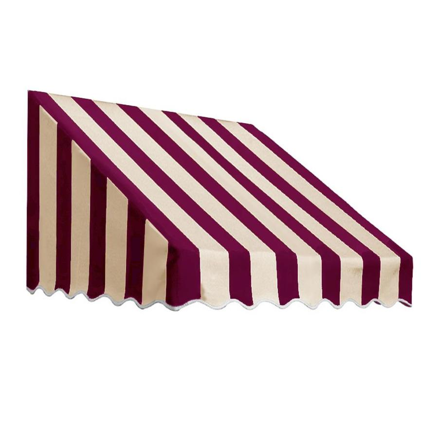 Awntech 124.5-in Wide x 36-in Projection Burgundy/Tan Stripe Slope Low Eave Window/Door Awning