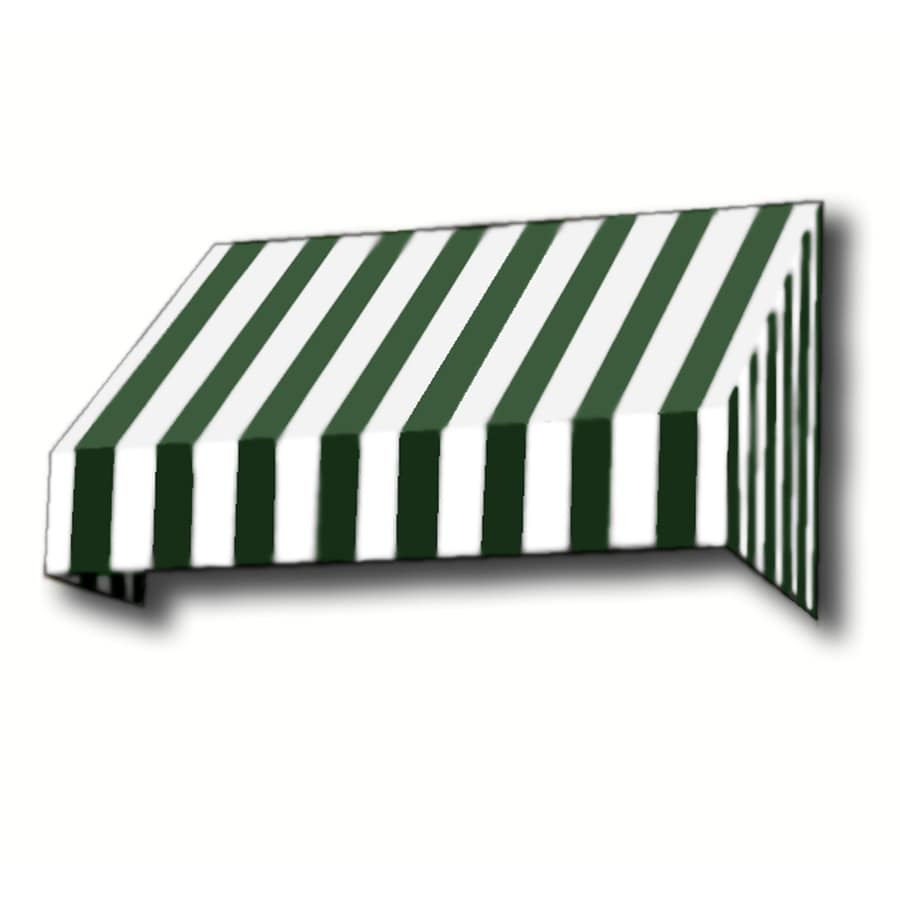 Awntech 124.5-in Wide x 36-in Projection Forest/White Stripe Slope Window/Door Awning