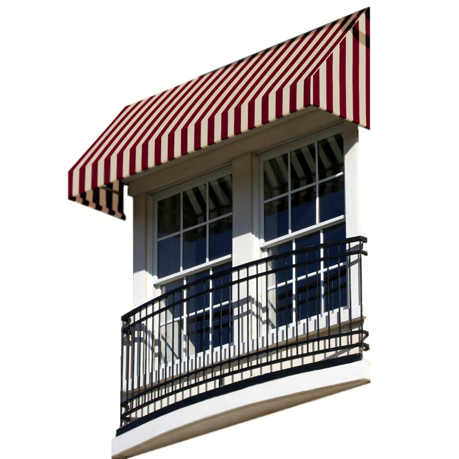 Awntech 52.5-in Wide x 36-in Projection Burgundy/Tan Stripe Slope Window/Door Awning