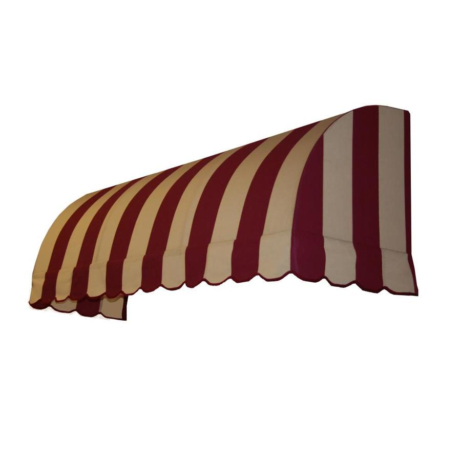 Awntech 64.5-in Wide x 24-in Projection Burgundy/Tan Stripe Waterfall Window/Door Awning