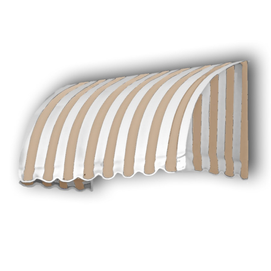 Awntech 172.5-in Wide x 36-in Projection Tan/White Stripe Waterfall Window/Door Awning