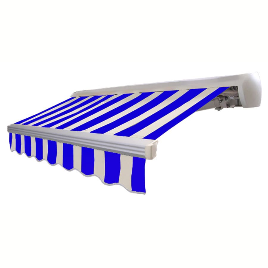 Awntech 16-ft Wide x 10-ft 2-in Projection Bright Blue/White Striped Slope Patio Retractable Manual Awning