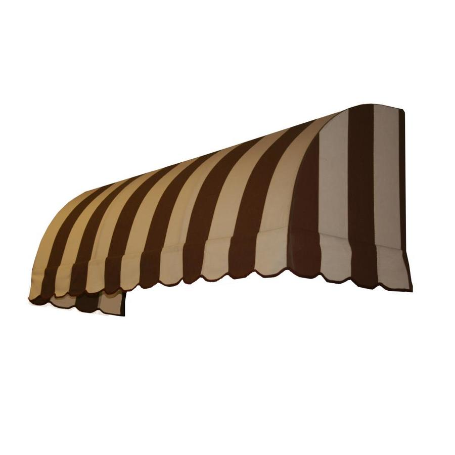 Awntech 124.5-in Wide x 24-in Projection Brown/Tan Stripe Waterfall Window/Door Awning