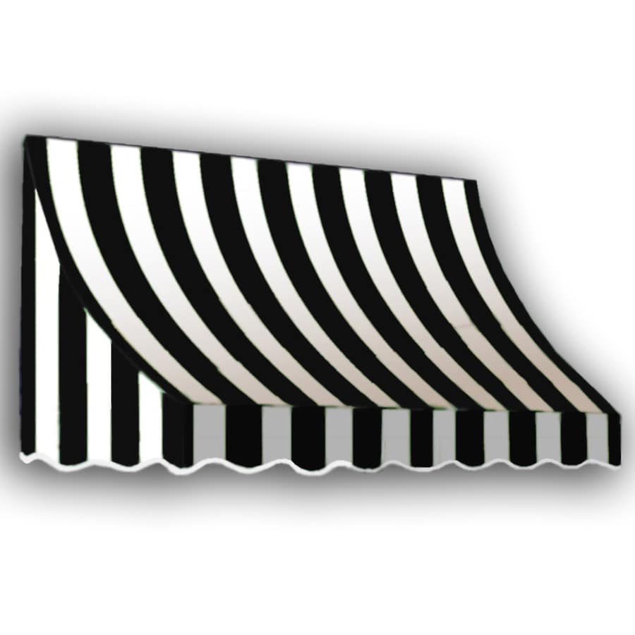 Awntech 64.5-in Wide x 48-in Projection Black/White Stripe Crescent Window/Door Awning