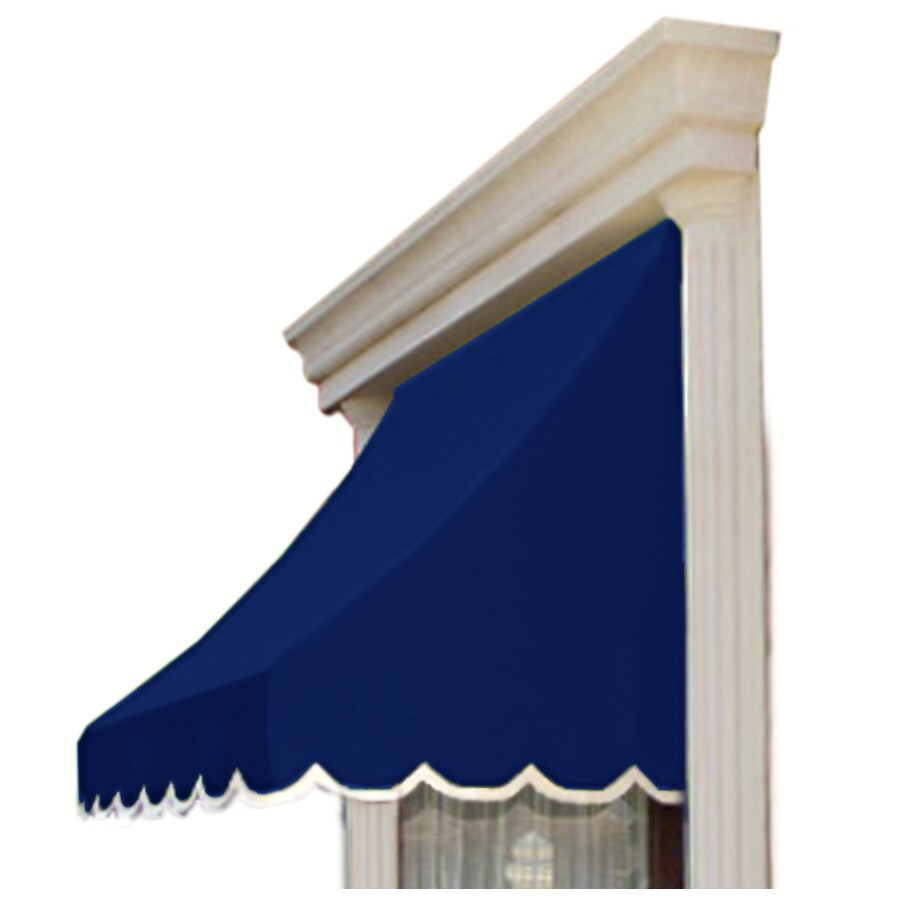 Awntech 52.5-in Wide x 24-in Projection Navy Solid Crescent Window/Door Awning