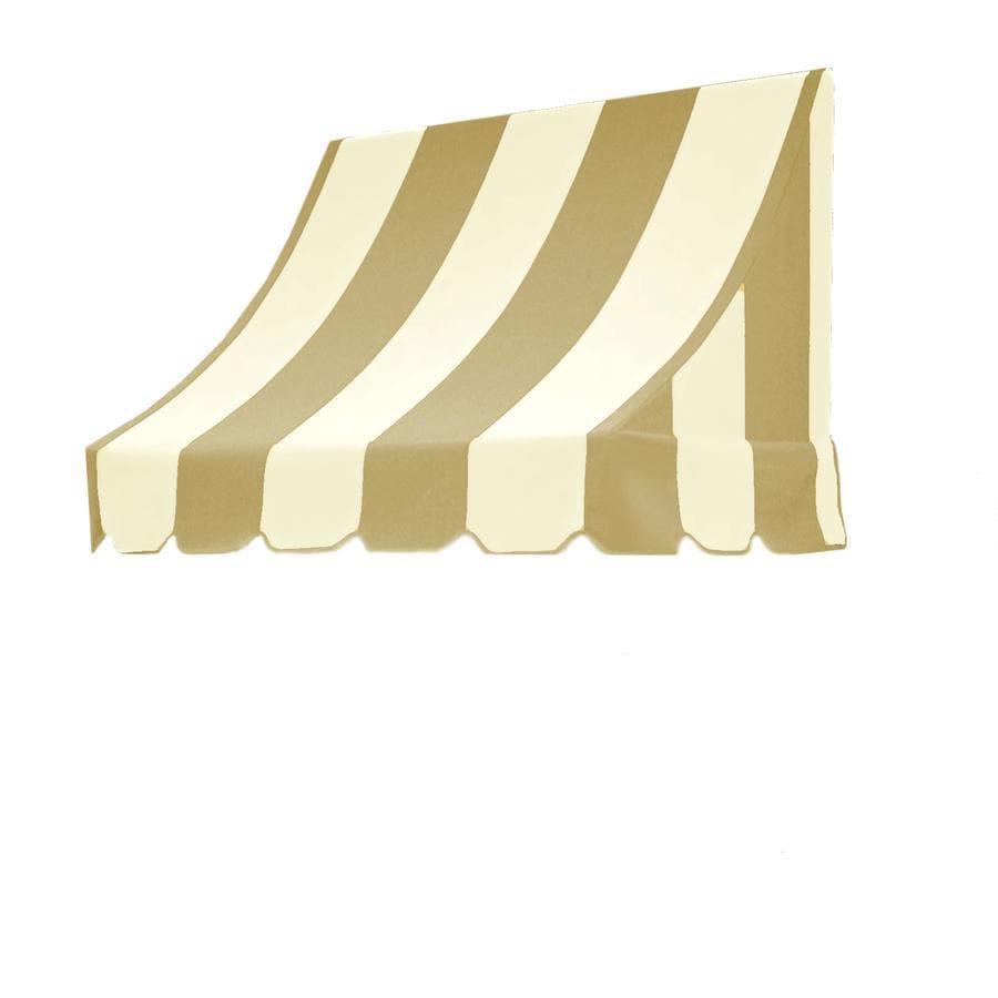 "Awntech 5' Beauty-Mark® Nantucket® (44""H X 36""D) Window/Entry Awning / Tan/White Stripe"