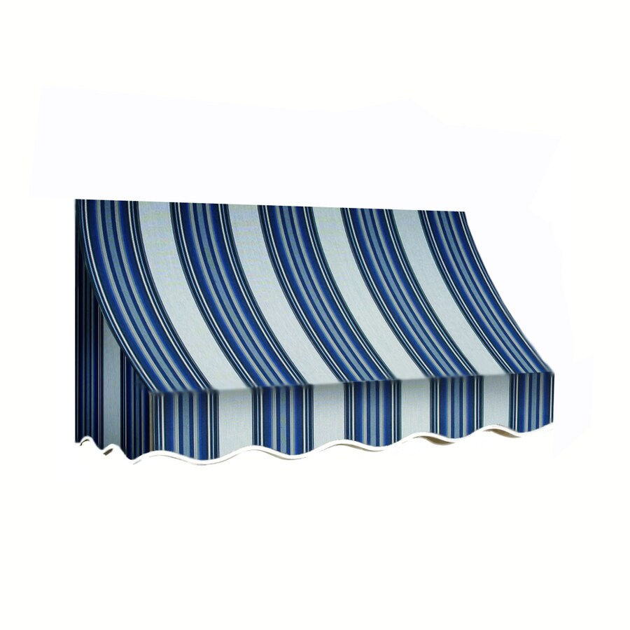 Awntech 124.5-in Wide x 36-in Projection Navy/Gray/White Stripe Crescent Window/Door Awning