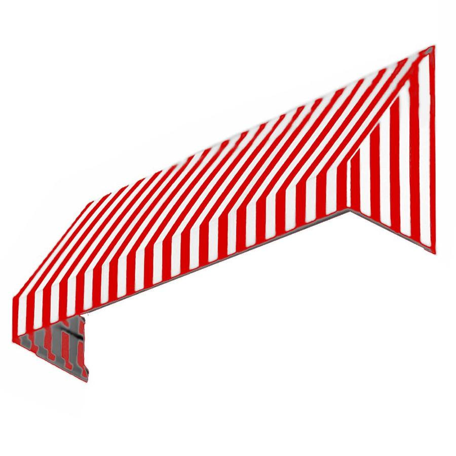 Awntech 100.5-in Wide x 36-in Projection Red/White Stripe Slope Window/Door Awning