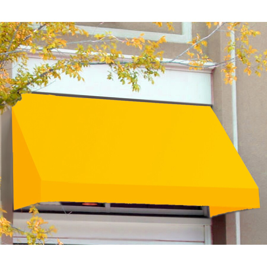 Awntech 148.5-in Wide x 36-in Projection Yellow Solid Slope Window/Door Awning
