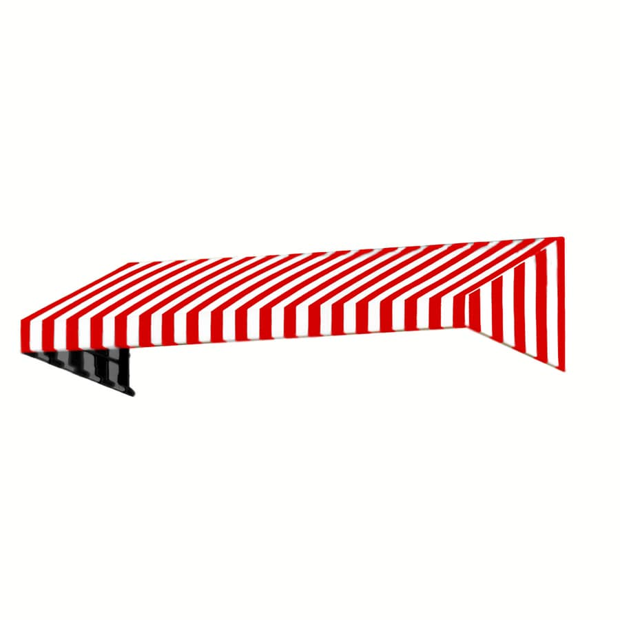 Awntech 124.5-in Wide x 24-in Projection Red/White Stripe Slope Window/Door Awning