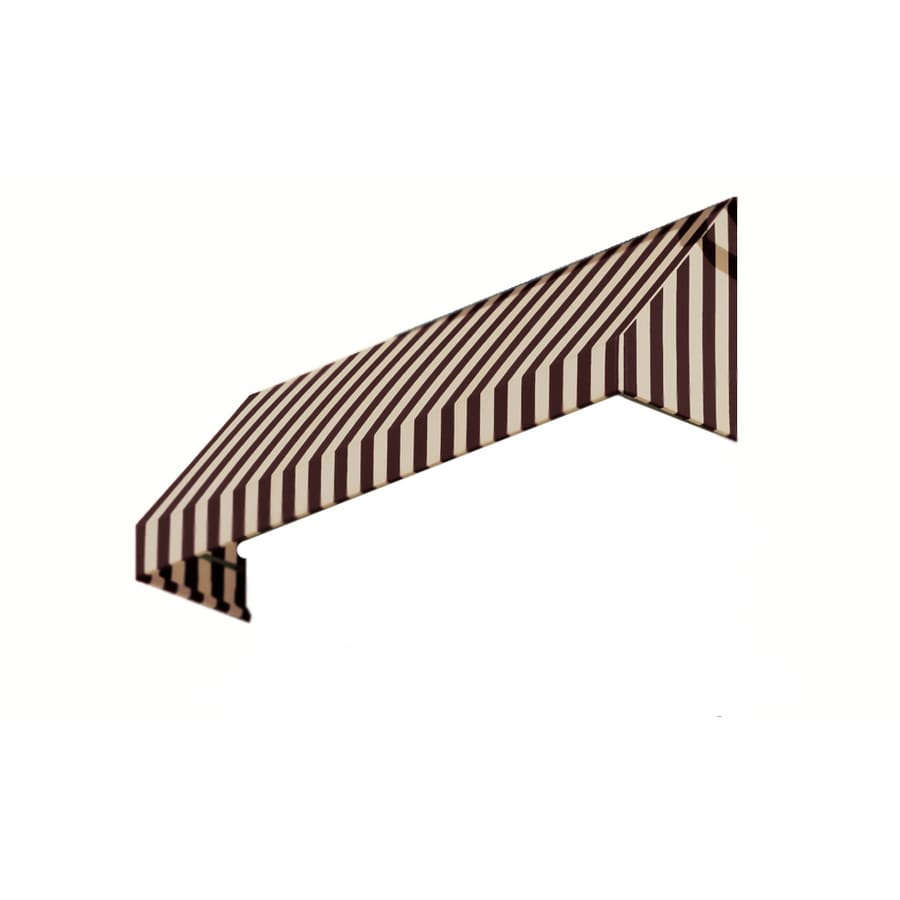 Awntech 124.5-in Wide x 36-in Projection Brown/Tan Stripe Slope Window/Door Awning