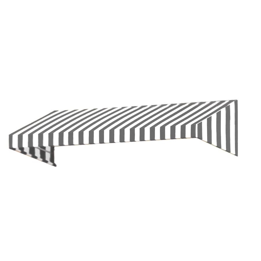 Awntech 484.5-in Wide x 24-in Projection Gray/White Stripe Slope Window/Door Awning