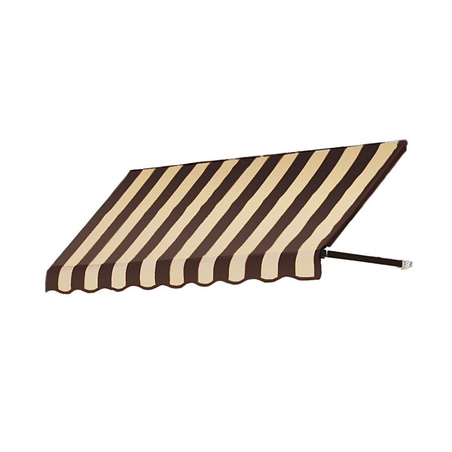 Awntech 52.5-in Wide x 48-in Projection Brown/Tan Stripe Open Slope Window/Door Awning