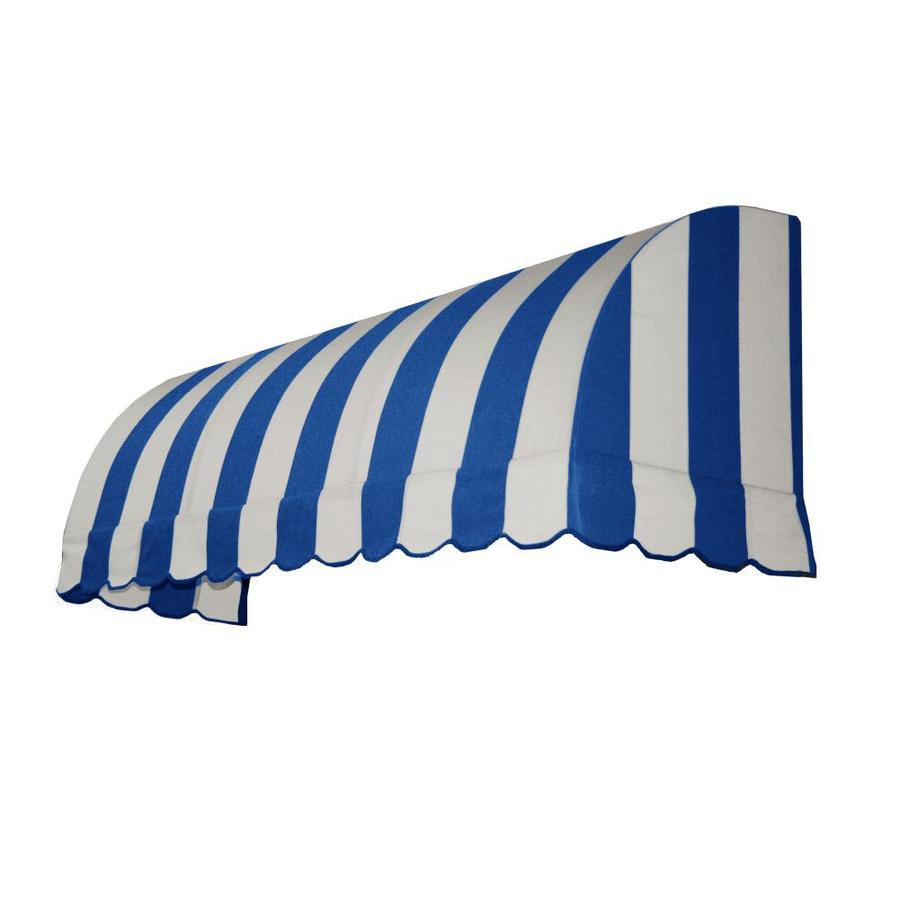 Awntech 100.5-in Wide x 24-in Projection Bright Blue/White Stripe Waterfall Window/Door Awning