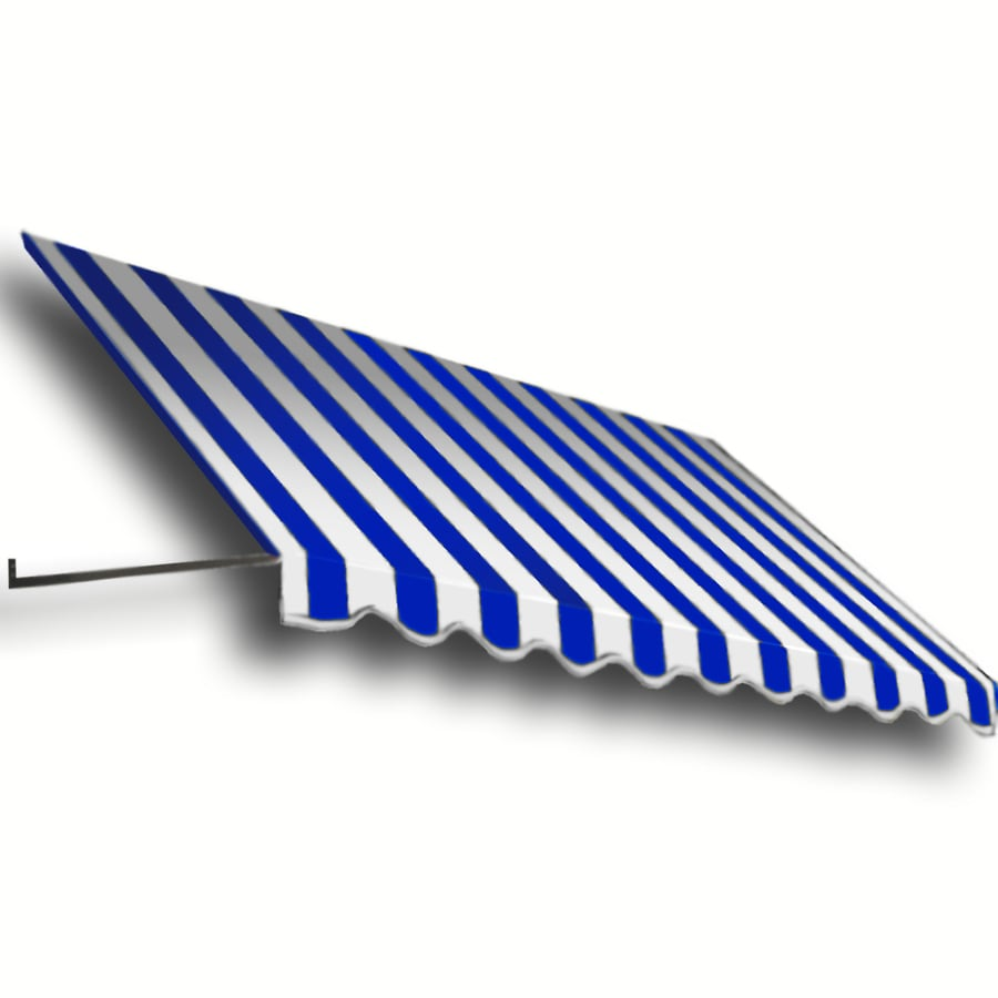 Awntech 124.5-in Wide x 48-in Projection Bright Blue/White Stripe Open Slope Window/Door Awning
