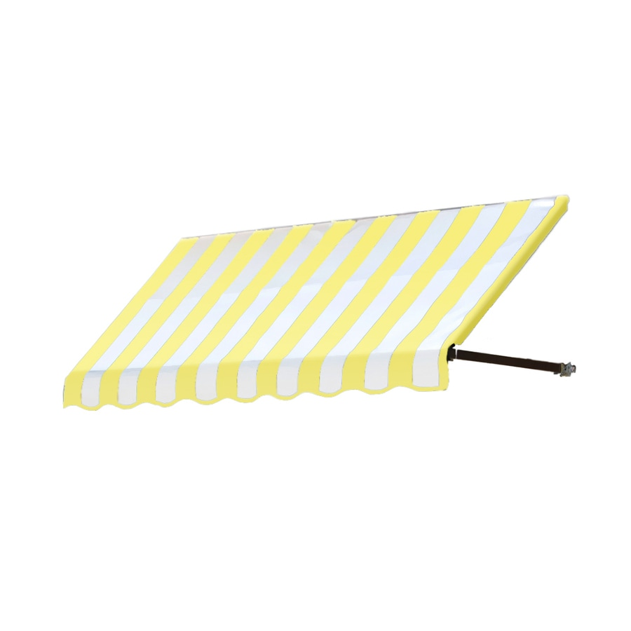 Awntech 148.5-in Wide x 36-in Projection Yellow/White Stripe Open Slope Window/Door Awning