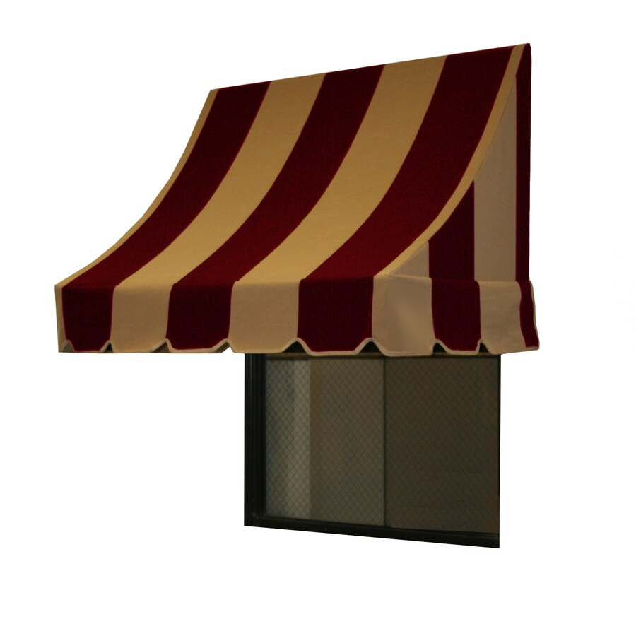 Awntech 100.5-in Wide x 36-in Projection Burgundy/Tan Stripe Crescent Window/Door Awning