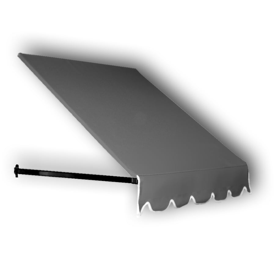 Awntech 124.5000-in Wide x 30-in Projection Gray Solid Open Slope Window/Door Fixed Awning