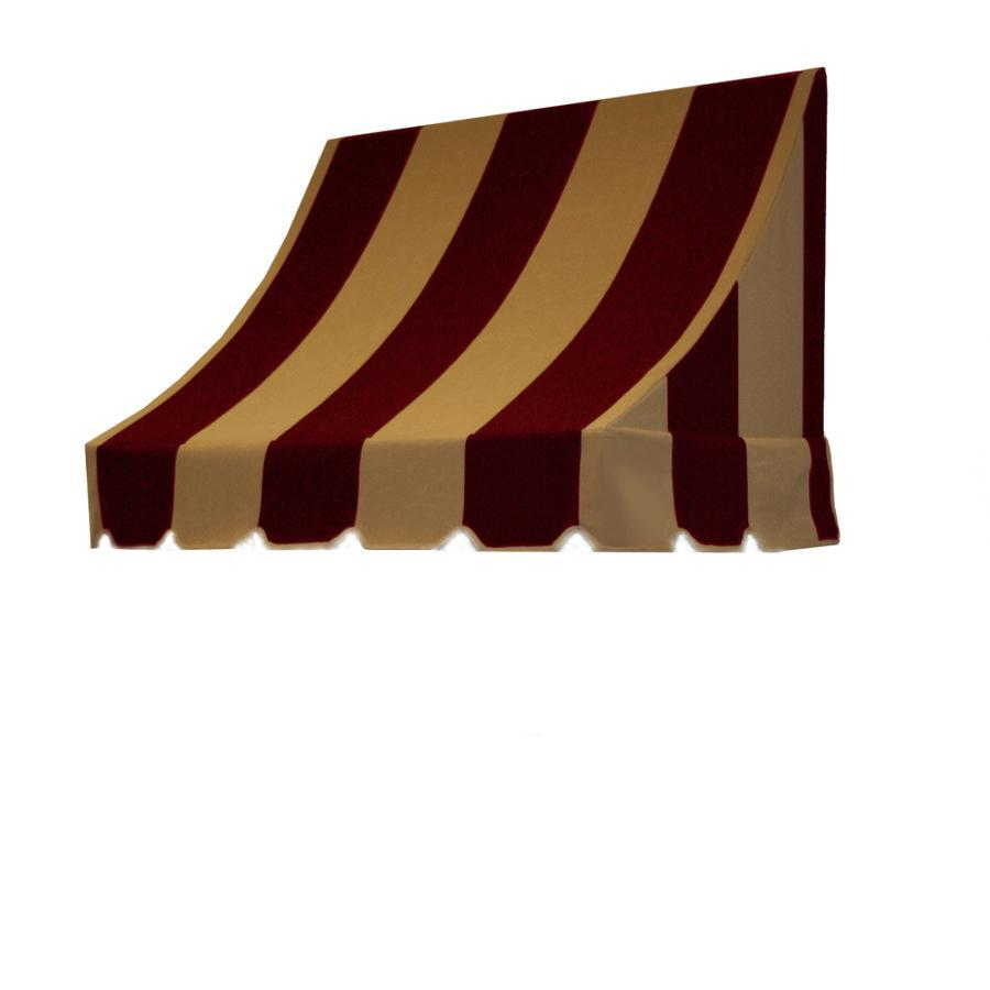 Awntech 76.5-in Wide x 48-in Projection Burgundy/Tan Stripe Crescent Window/Door Awning