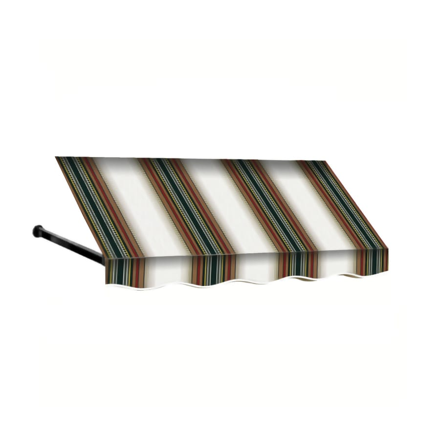 Awntech 124.5000-in Wide x 24-in Projection Burgundy/Forest/Tan Striped Open Slope Window/Door Fixed Awning