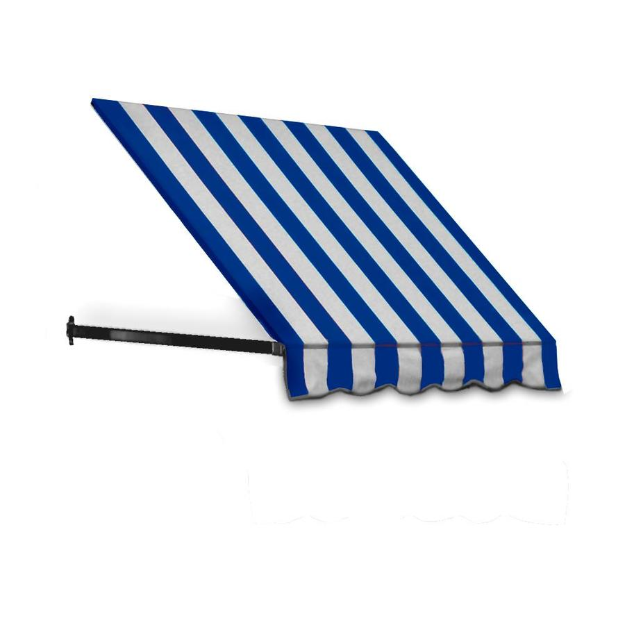 Awntech 64.5-in Wide x 36-in Projection Bright Blue/White Stripe Open Slope Window/Door Awning