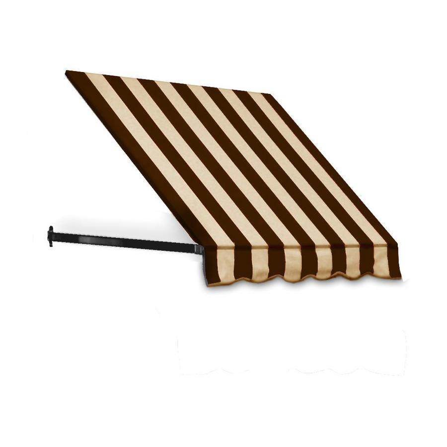 Awntech 76.5-in Wide x 30-in Projection Brown/Tan Stripe Open Slope Low Eave Window/Door Awning