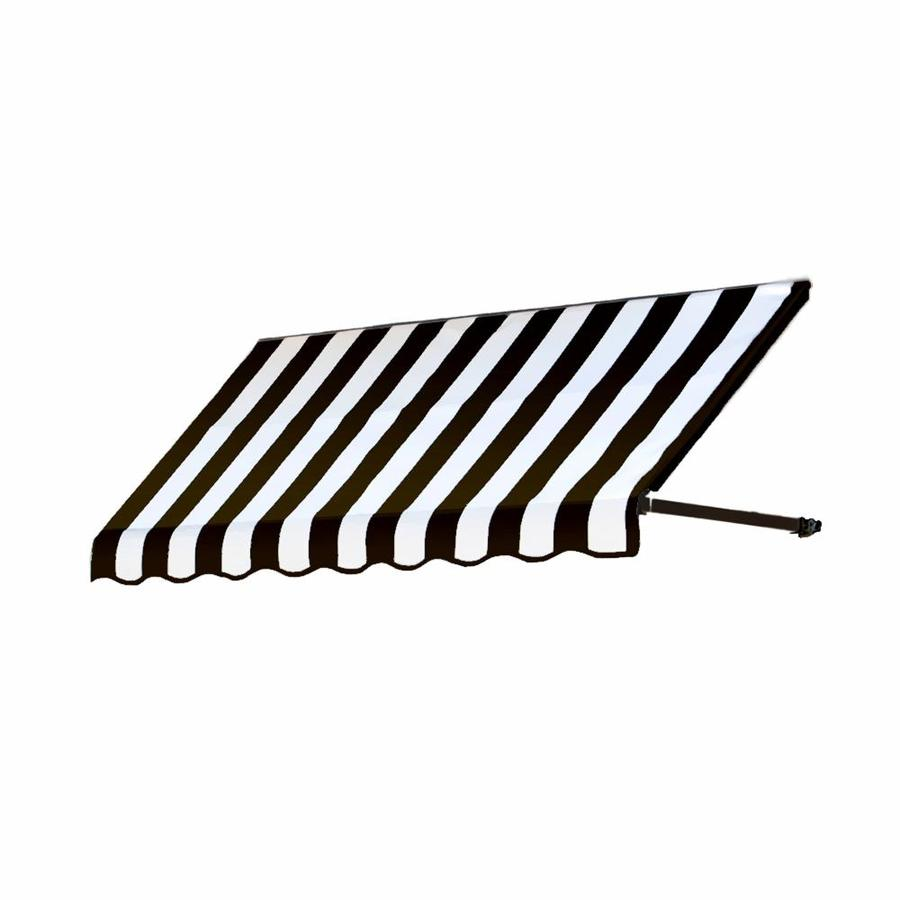 Awntech 76.5-in Wide x 30-in Projection Black/White Stripe Open Slope Low Eave Window/Door Awning