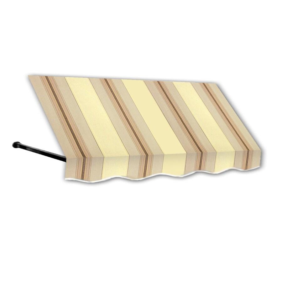 Awntech 100.5-in Wide x 36-in Projection Gray/Cream/Black Stripe Open Slope Window/Door Awning