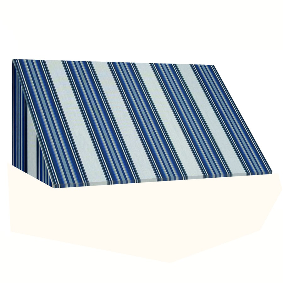 Awntech 148.5-in Wide x 36-in Projection Navy/Gray/White Stripe Slope Window/Door Awning