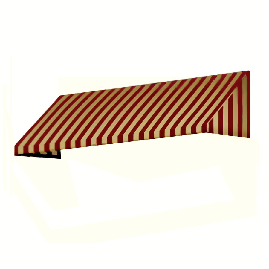 Awntech 196.5-in Wide x 36-in Projection Burgundy/Tan Stripe Slope Window/Door Awning