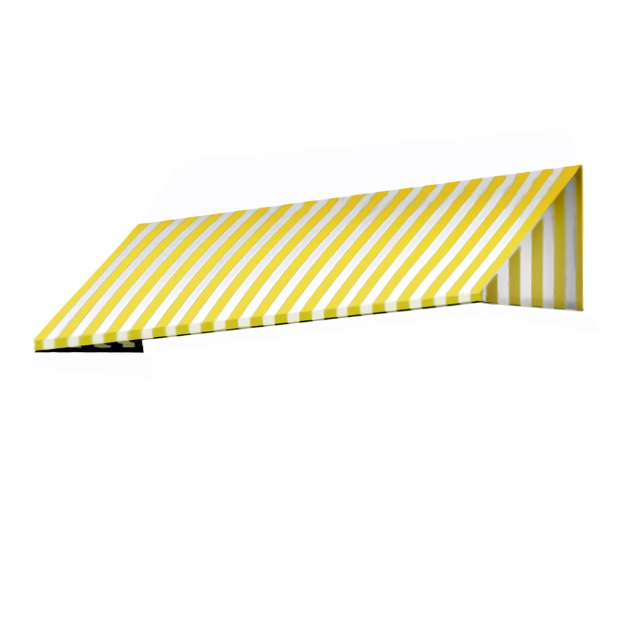 Awntech 148.5-in Wide x 30-in Projection Yellow/White Stripe Slope Low Eave Window/Door Awning