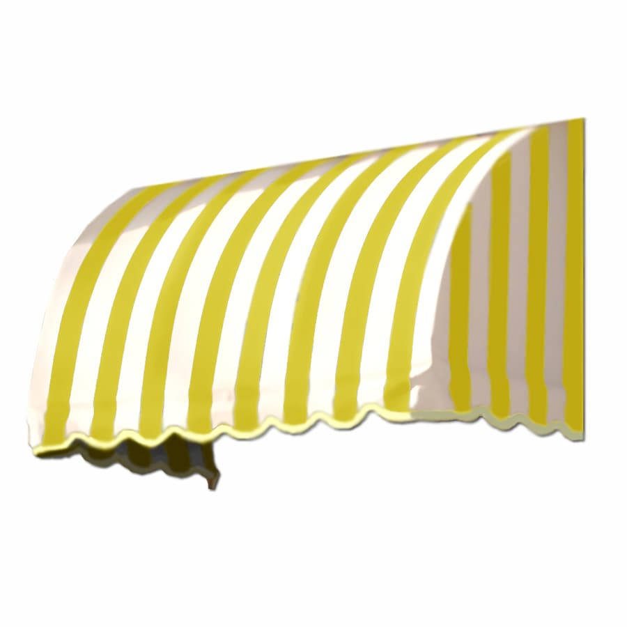 Awntech 364.5-in Wide x 36-in Projection Yellow/White Stripe Waterfall Window/Door Awning
