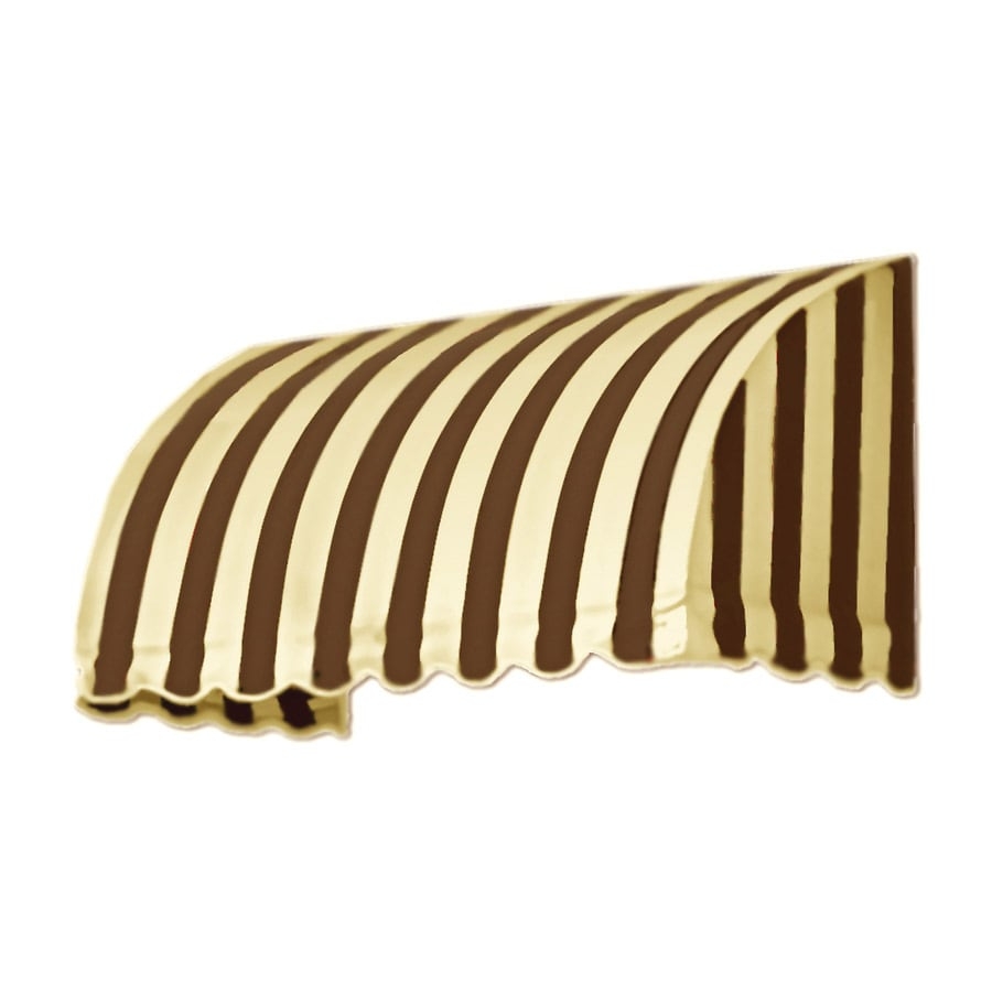 Awntech 76.5-in Wide x 36-in Projection Brown/Tan Stripe Waterfall Window/Door Awning