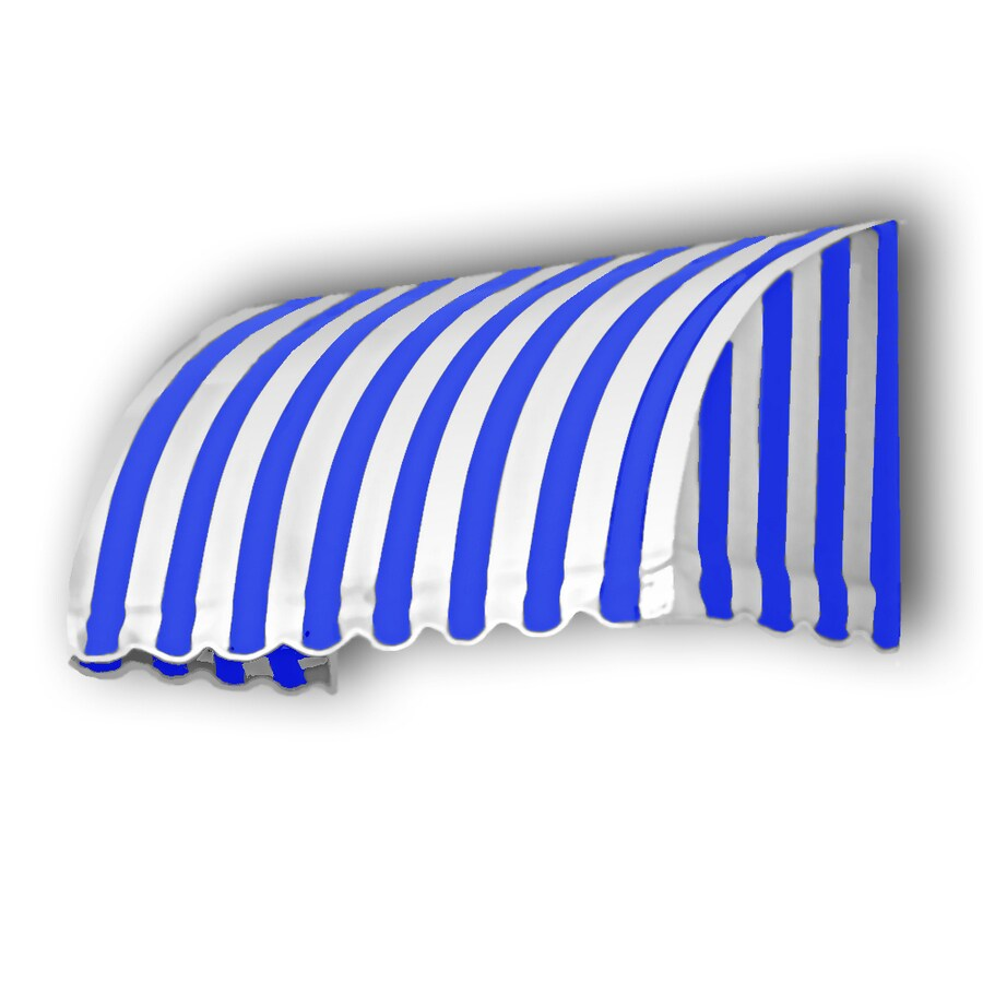 Awntech 52.5-in Wide x 36-in Projection Bright Blue/White Stripe Waterfall Window/Door Awning