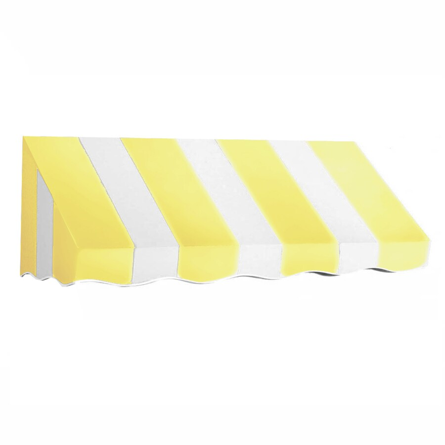Awntech 124.5-in Wide x 36-in Projection Yellow/White Stripe Slope Low Eave Window/Door Awning
