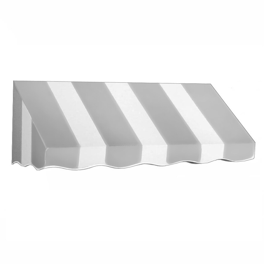 Awntech 124.5-in Wide x 30-in Projection Gray/White Stripe Slope Low Eave Window/Door Awning