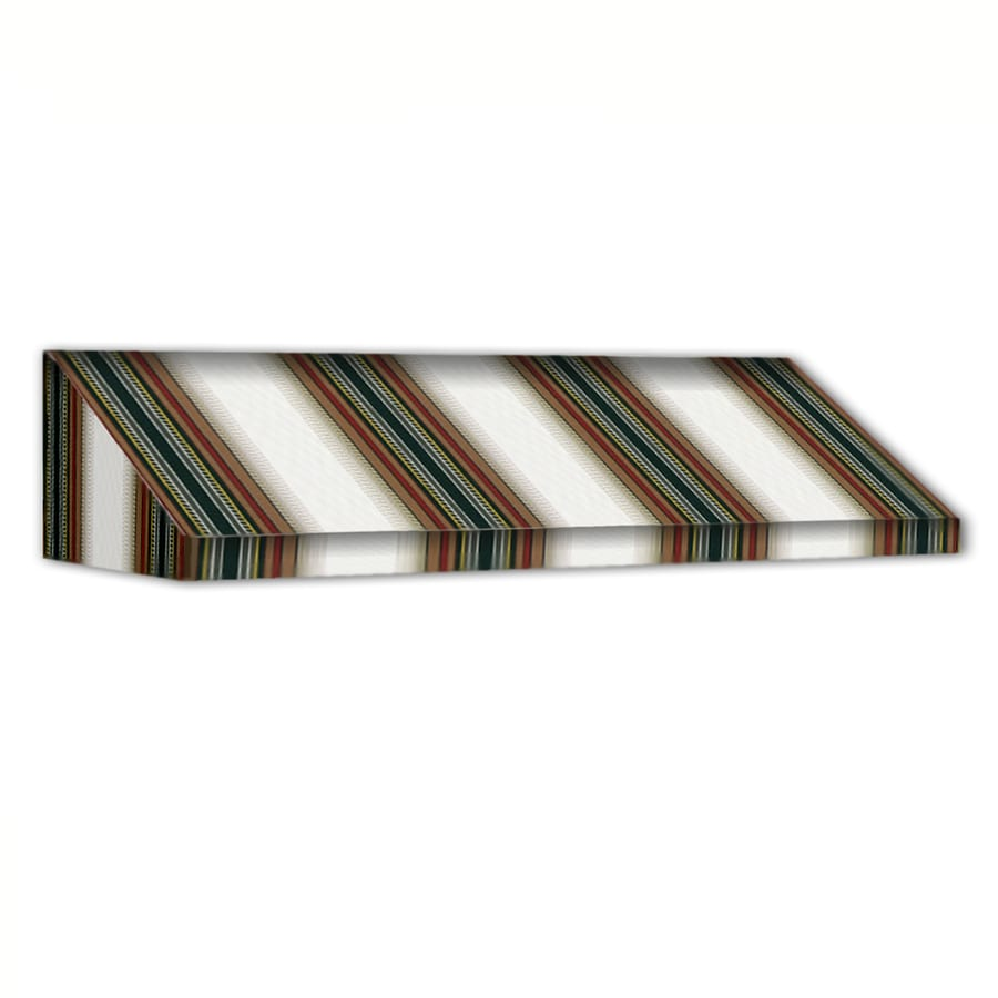 Awntech 100.5-in Wide x 24-in Projection Burgundy/Forest/Tan Stripe Slope Window/Door Awning