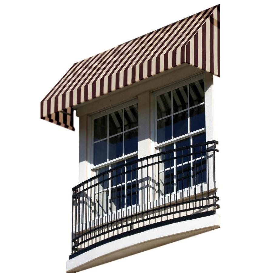 Awntech 124.5-in Wide x 24-in Projection Brown/Tan Stripe Slope Window/Door Awning