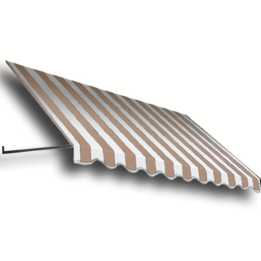 Awntech 148.5-in Wide x 36-in Projection Tan/White Stripe Open Slope Window/Door Awning