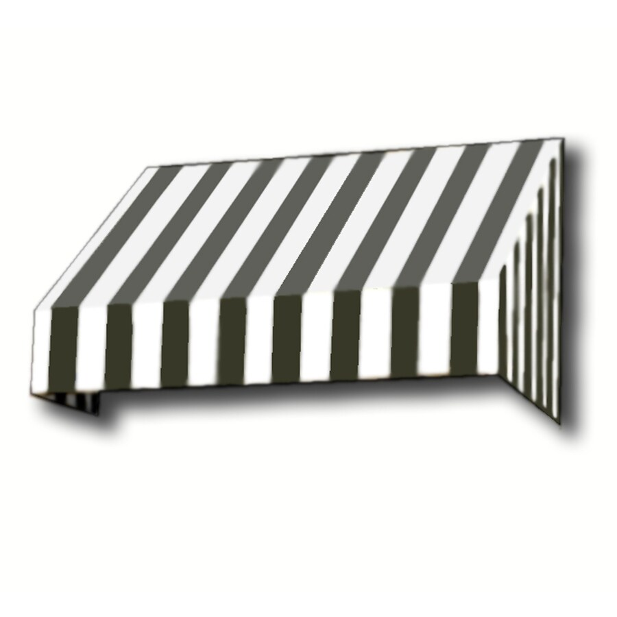 Awntech 148.5-in Wide x 48-in Projection Black/White Stripe Slope Window/Door Awning